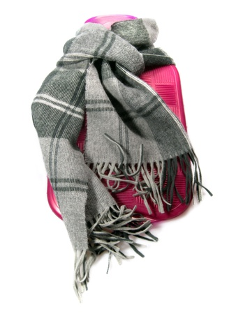 coziness: Hot water bottle with scarf