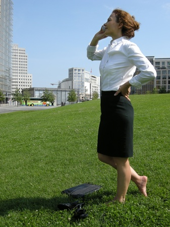 Business woman on the road photo