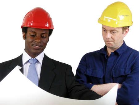 business skeptical: El arquitecto y gerente de construcci�n Foto de archivo