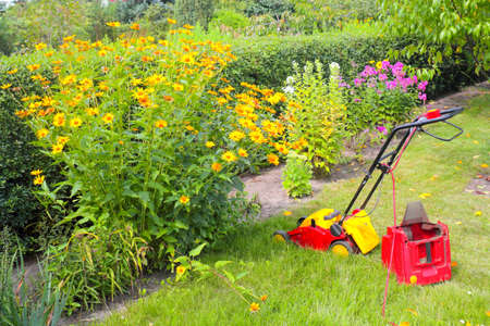 Lawn mower in the small garden photo