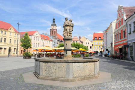 town idyll: Old Market with Market Fountain Editorial