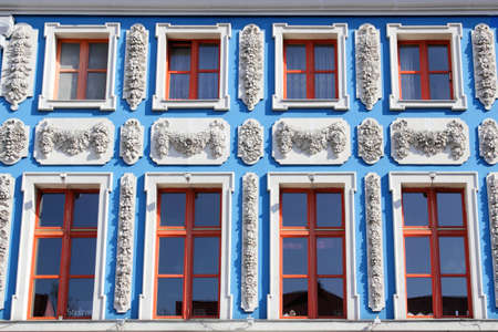stucco facade: Blue stucco facade