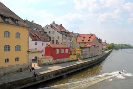 regensburg: Regensburg Danube Bank Stock Photo