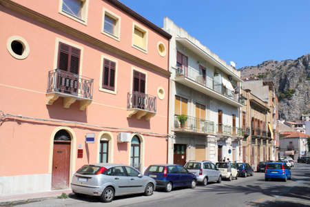 Houses line in Cefalu Stock Photo - 12473408