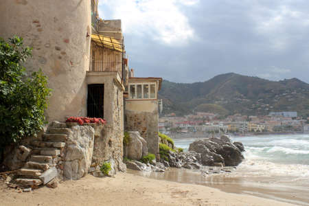 mediterranean houses: Beach in Cefalu Stock Photo