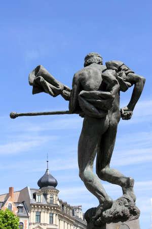 attics: Fountain figure on Hallmarkt Stock Photo