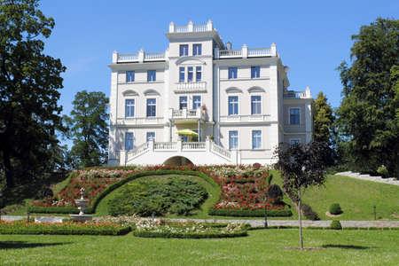 renovate old building facade: Weinberg castle  Waren  Stock Photo