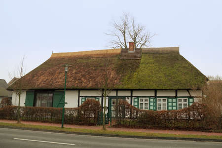 thatched roof: Half-timbered houses with thatched roof Editorial