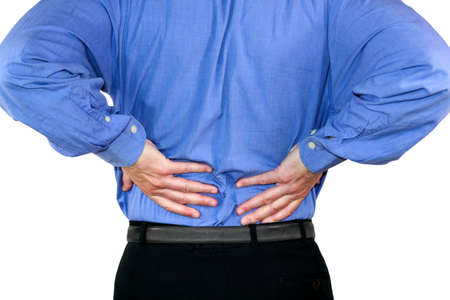 lean back: Back Pain Stock Photo