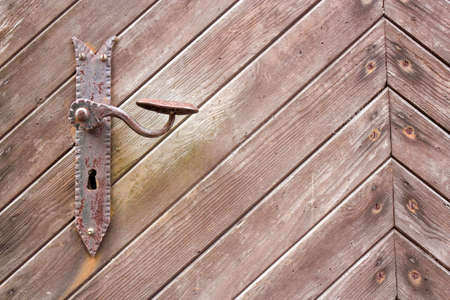 laths: Door knob on wooden door Stock Photo
