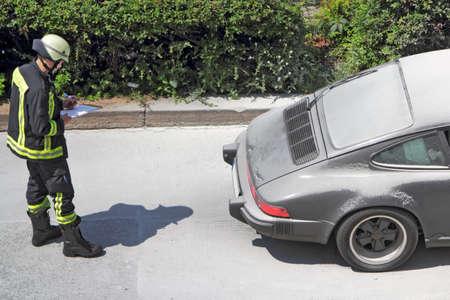 brand damage: Car fire Editorial
