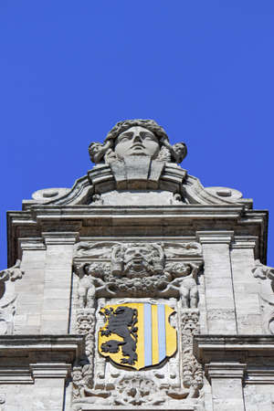 heads old building facade: New Town Hall Crest