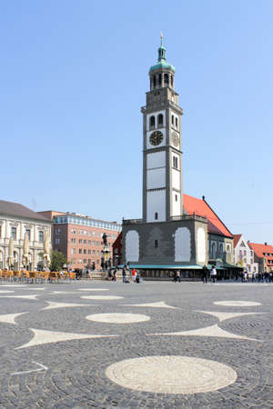 baudenkmal: Town Square with Perlach tower Editorial