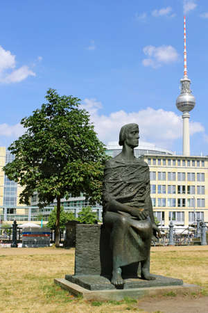 Sculpture and TV Tower Stock Photo - 16372523