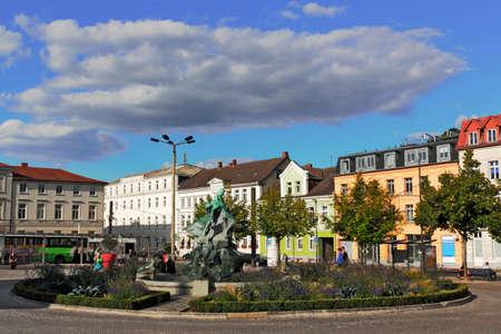 urban idyll: City Fountain in Schwerin Stock Photo
