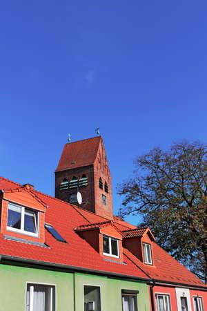 brandenburg home ownership: Residential and Nikolai Church Stock Photo