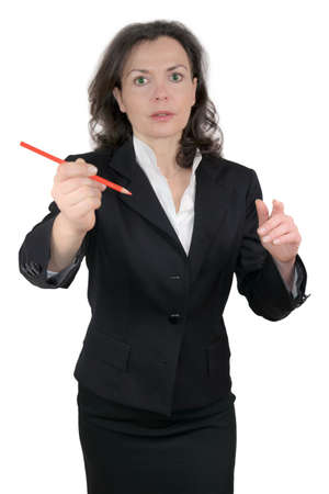Business woman with a red pencil Stock Photo - 17261059
