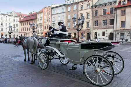 southern poland old building: horse-drawn carriage