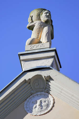 gable home renovation: Gable with sculpture Stock Photo
