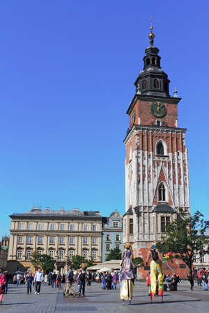 southern poland old building: Market Place with City Hall Tower