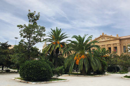 urban idyll: Town Square in Messina Stock Photo