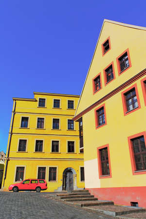 gable home renovation: Old City of Torgau Stock Photo