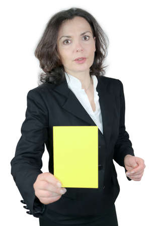 showing the yellow card Stock Photo - 18386966