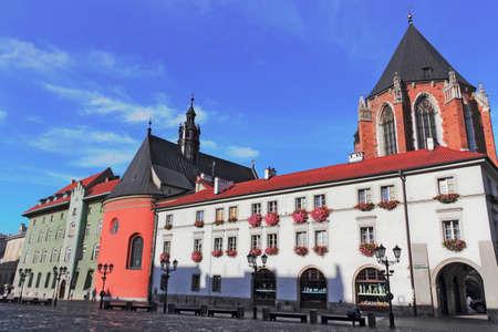 town idyll: Krakow Small Market Stock Photo