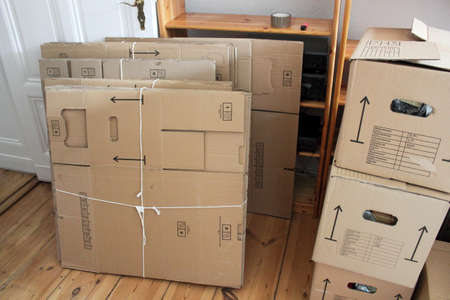 moving crate: Moving Boxes Stock Photo
