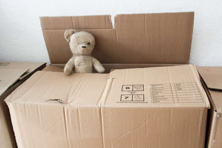Moving box with teddy photo