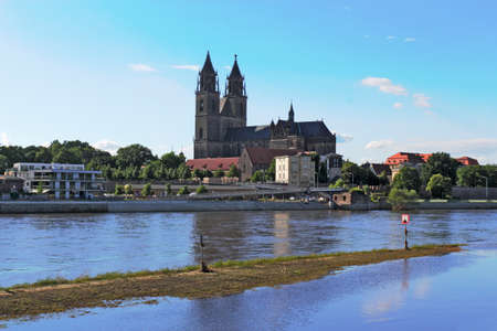 flood area: Elbe shore with cathedral