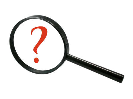 Magnifier with question mark photo