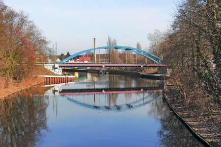 urban idyll: Bridge in Erkner Stock Photo
