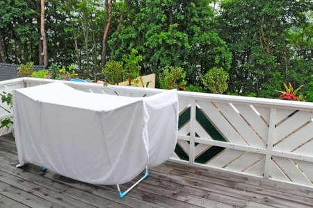 Terrace with drying rack photo