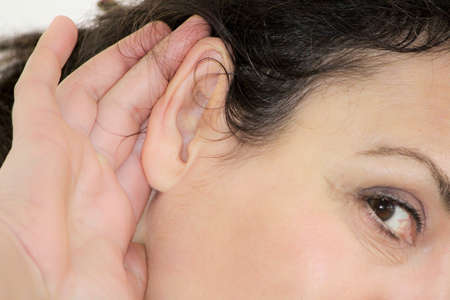 deafness: hard-of-hearing Stock Photo