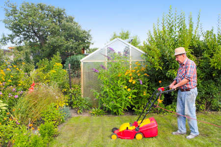 Pensioners working in the garden photo