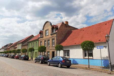 brandenburg home ownership: renovated house line Stock Photo