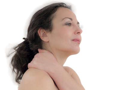 massaggio collo: donna hanno massaggio del collo Archivio Fotografico