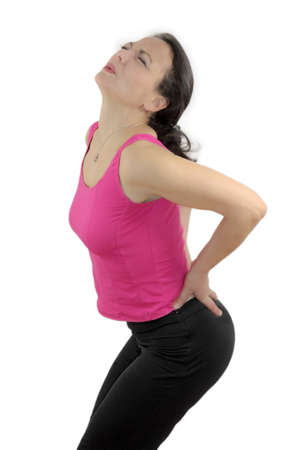cramping: Back Pain Stock Photo