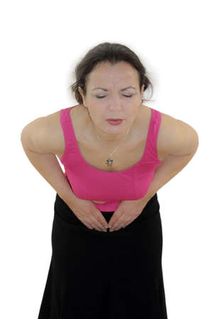 colonoscopy: stomach ache Stock Photo