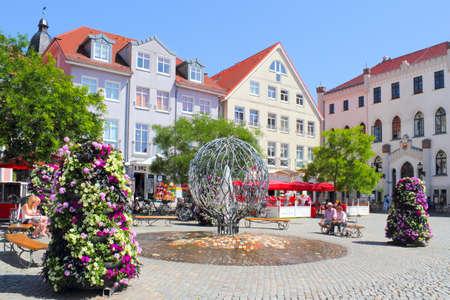 town idyll: Waren Mueritz City Hall Square Editorial