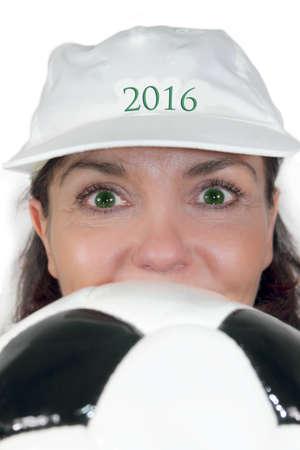 exempted female: Football fever 2016 Stock Photo