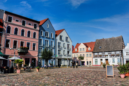 small town life: Ueckermuende Markte Place Stock Photo