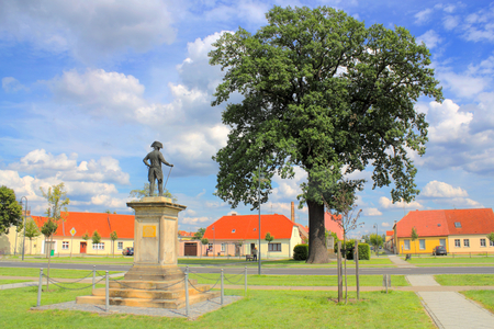 residential idyll: Marketplace in Kloster Zinna Stock Photo