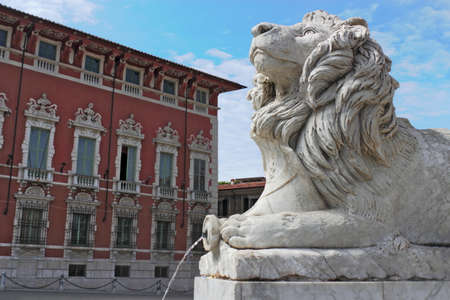 massa: Stone lion in front of City Hall Massa Stock Photo