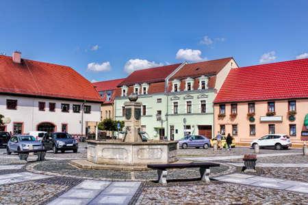 town idyll: Market fountain in Ruhland Stock Photo