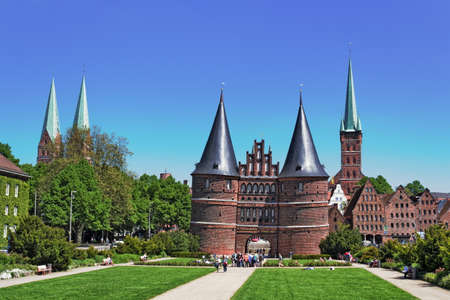 town idyll: Holsten Gate in Luebeck Stock Photo
