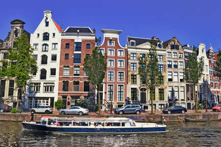 gabled houses: Amsterdam Sightseeing Stock Photo
