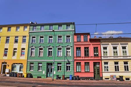 rent index: Renovated houses line Stock Photo