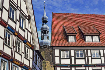soest: Tudor Style and St. Peters Church Stock Photo